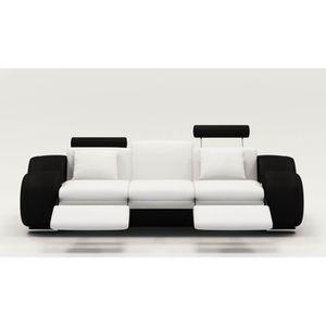 canape cuir noir et blanc achat vente canape cuir noir et blanc pas cher soldes cdiscount. Black Bedroom Furniture Sets. Home Design Ideas