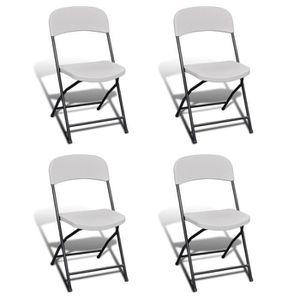 SALON DE JARDIN  Lot de 4 chaises de jardin blanches pliables en HD