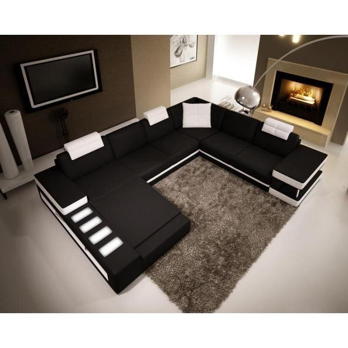 canap d 39 angle panoramique en cuir noir et blanc achat vente canap sofa divan cuir. Black Bedroom Furniture Sets. Home Design Ideas