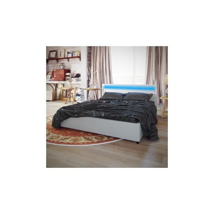 lit en pu cuir avec t te de lit led 200 180 cm blanc. Black Bedroom Furniture Sets. Home Design Ideas