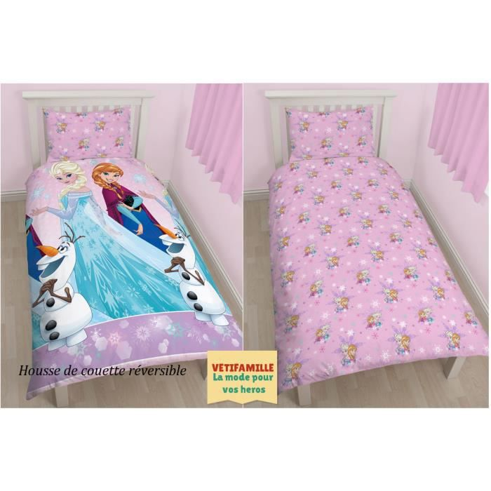 reine des neiges parure de lit r versible pour lit 1 personne rose achat vente housse de. Black Bedroom Furniture Sets. Home Design Ideas