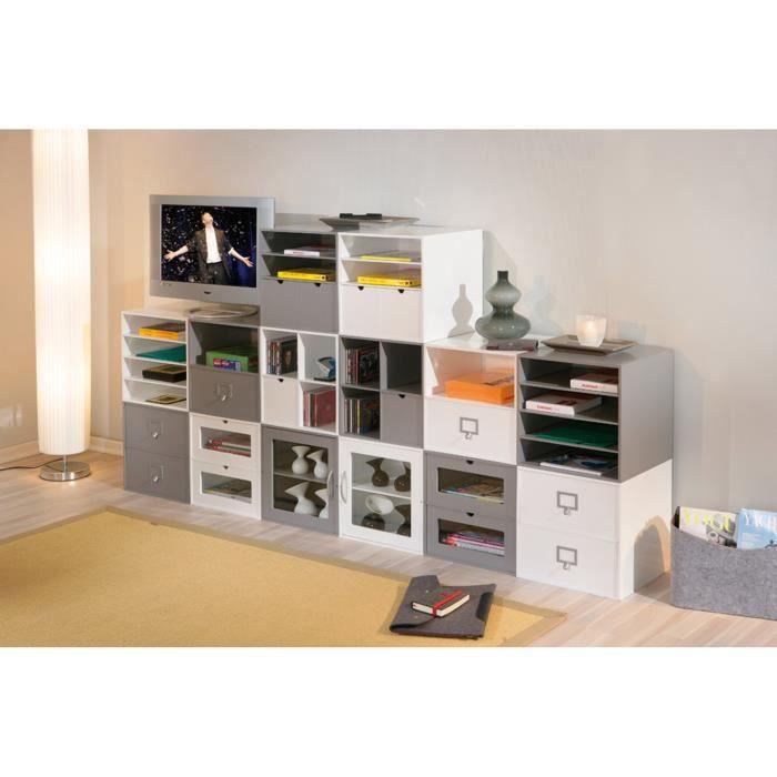 boite de rangement cm113 blanc 2 tiroirs achat vente. Black Bedroom Furniture Sets. Home Design Ideas