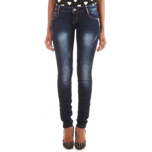 Jeans froissé détails python - Jeans slim à effet froissé