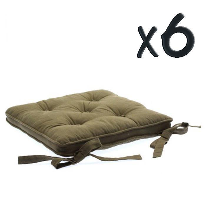 Lot de 6 gallettes chaise 5 boutons taupe p40 x l40 cm - Chaise lot de 6 ...