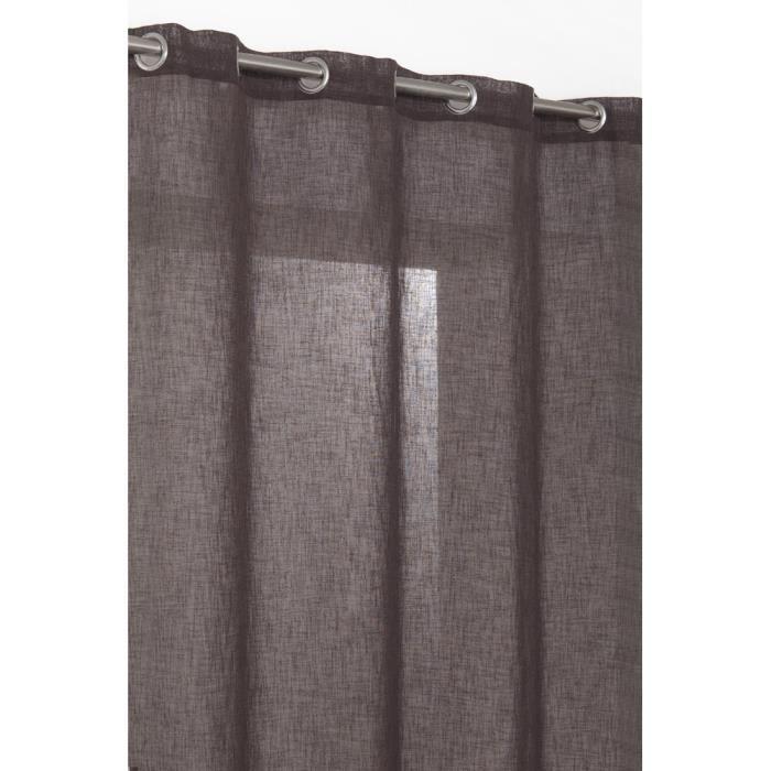 rideau voilage effet lin 140x240 cm chocolat achat. Black Bedroom Furniture Sets. Home Design Ideas