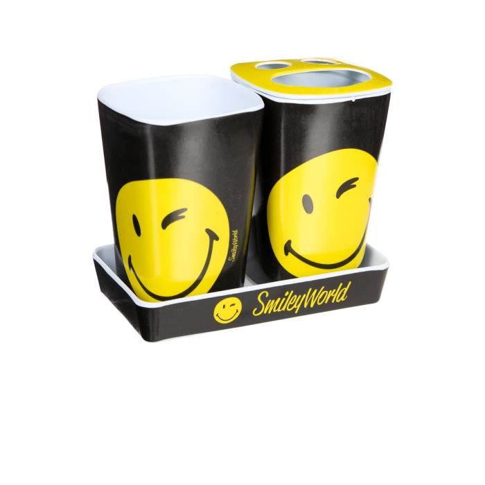 3 accessoires de sdb smiley achat vente porte. Black Bedroom Furniture Sets. Home Design Ideas