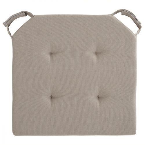 Galette de chaise avec velcro 40 x 40 cm taupe achat for Galette de chaise taupe