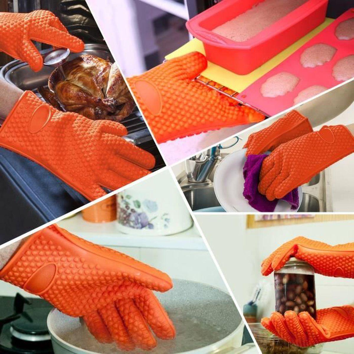 Slemon paire gants de cuisine en silicone anti chaleur - Gant de cuisine anti chaleur ...