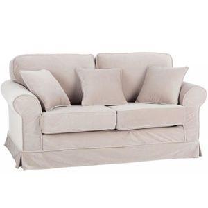 Canape 2 places beige achat vente canape 2 places beige pas cher cdiscount for Housse divan 2 places