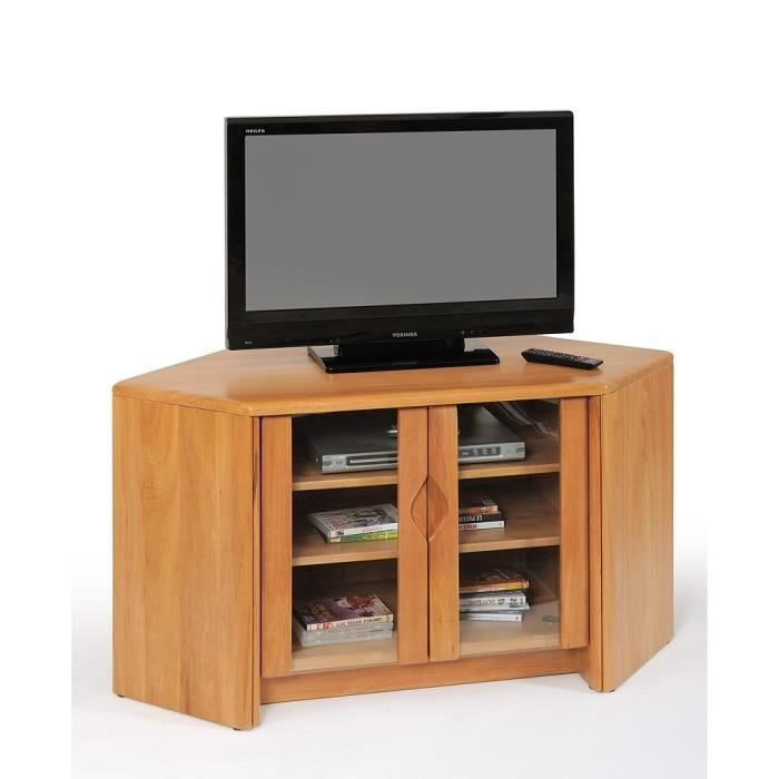 Meuble t l d 39 angle v nus orme massif orme weng for Meuble tele wenge