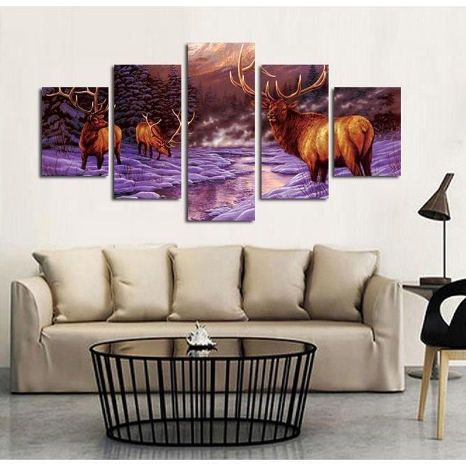 huile animale 5pcs set moderne peinture l 39 huile toile tableau cerf peint main mur sans. Black Bedroom Furniture Sets. Home Design Ideas