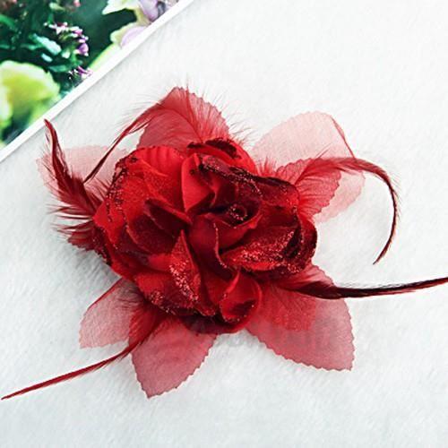 elastique broche pour cheveux fleur en plume ga achat vente barrette chouchou elastique. Black Bedroom Furniture Sets. Home Design Ideas