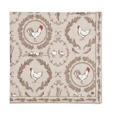 Lot de 20 serviettes en papier motif poule coq poussins achat vente serviette de table - Serviette en papier motif ...