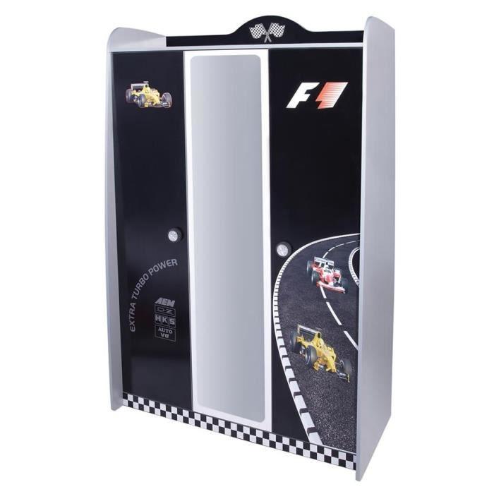 Armoire enfant auto f1 3portes miroir noire 199cm achat vente armoire de - Armoire enfant cdiscount ...