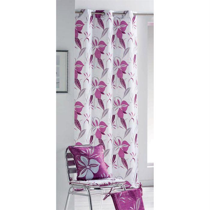 Rideau oeillets vita 260cm taffetas blanc et rose achat - Ourlet rideaux quelle hauteur ...