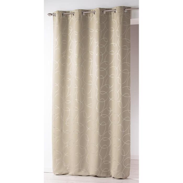 rideau illets occultant imprim silvermoon 140x260 cm beige et argent achat vente rideau. Black Bedroom Furniture Sets. Home Design Ideas