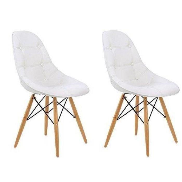 Lot de 2 chaises design henry blanche pi tement en bois achat vente chais - Chaises design en soldes ...
