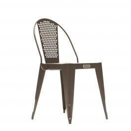 CHAISE  Chaise bistrot acier et inox WOOTZ - gris sablé
