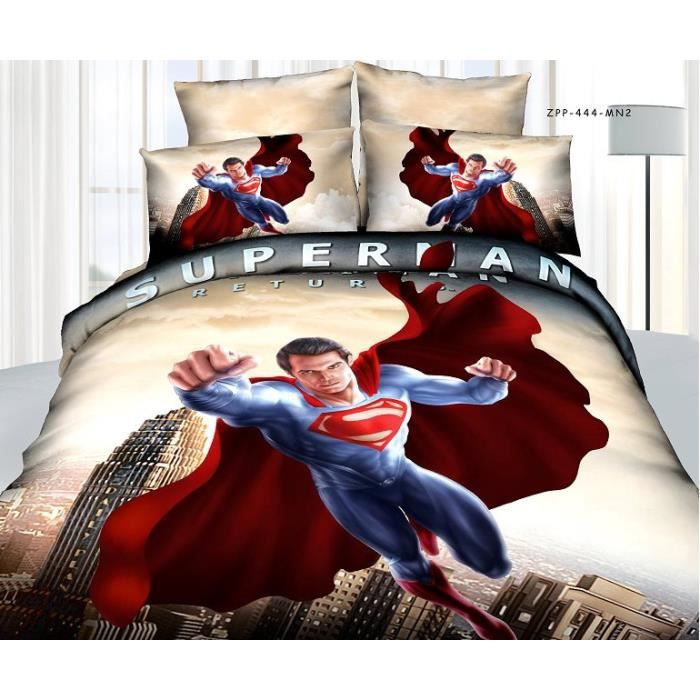 Parure de couette superman coton 200 230 cm 3d effet 4 - Parure de lit spiderman 1 personne ...