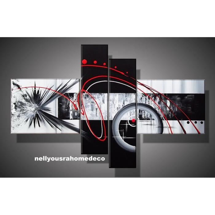 tableau design achil e noir gris rouge 140cm achat. Black Bedroom Furniture Sets. Home Design Ideas