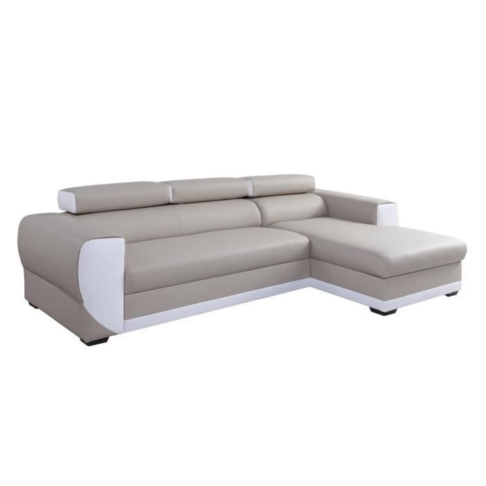 Canap d 39 angle droit switsofa cosy pu beige blanc achat for Canape d angle droit