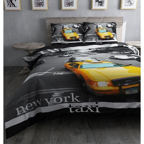 parure de lit new york taxi jaune achat vente housse de couette cdiscount. Black Bedroom Furniture Sets. Home Design Ideas