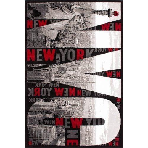 Lalee tapis design motif new york rouge gris noir cr me achat vente tapis - Tapis rouge et noir design ...