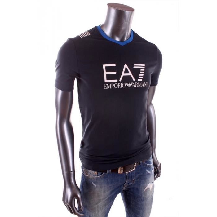 t shirt ea7 emporio armani homme manche courte noir achat vente t shirt cdiscount. Black Bedroom Furniture Sets. Home Design Ideas