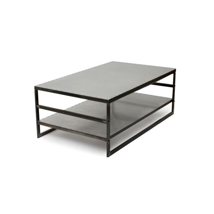 Table basse en m tal gris phileas achat vente table - Tables basses metal ...