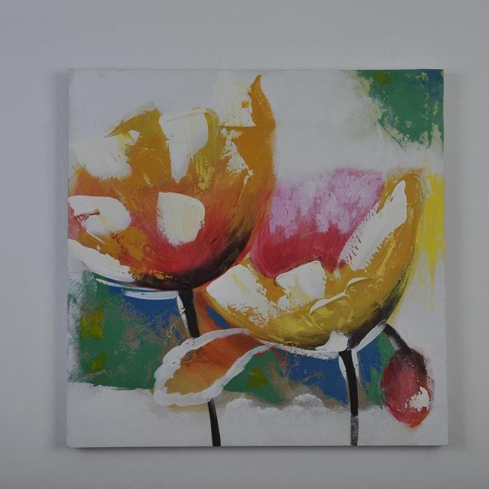 flowery2 tableau d co toile peinte 60x60 cm multicolore achat vente tableau toile bois et. Black Bedroom Furniture Sets. Home Design Ideas