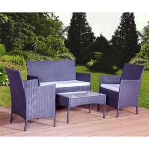 Salon de jardin noire coussin turquoise sd8201 achat vente salon de jardin salon de jardin - Salon de jardin en resine blanc ...