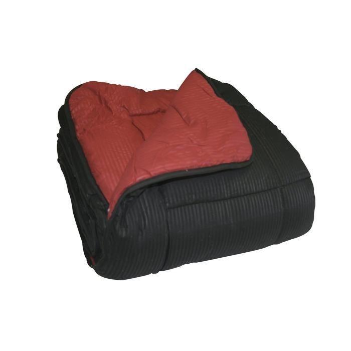 couette microfibre bi couleur 140x200 cm ultra moelleuse chaude et soyeuse 450gr m noir et. Black Bedroom Furniture Sets. Home Design Ideas