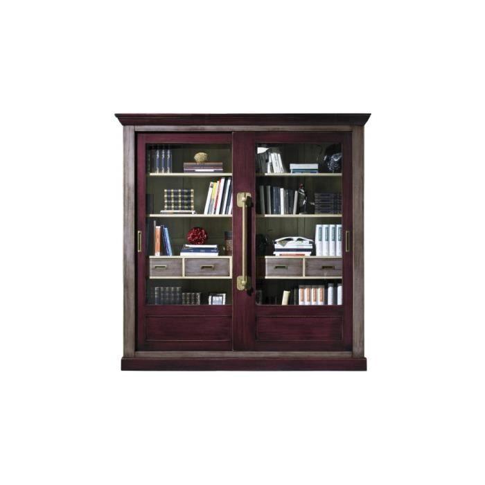 grande biblioth que ch ne massif gris et prune 2 portes coulissantes vitr es achat vente. Black Bedroom Furniture Sets. Home Design Ideas