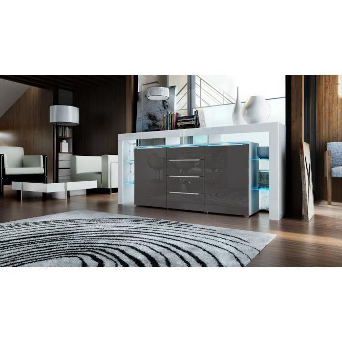 Bahut design laqu blanc et noir m tallique 192 cm achat vente buffet b - Bahut noir et blanc laque ...
