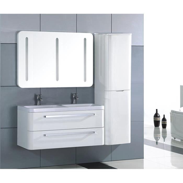 Meuble salle de bain bois massif blanc laqu achat for Meuble salle de bain complet