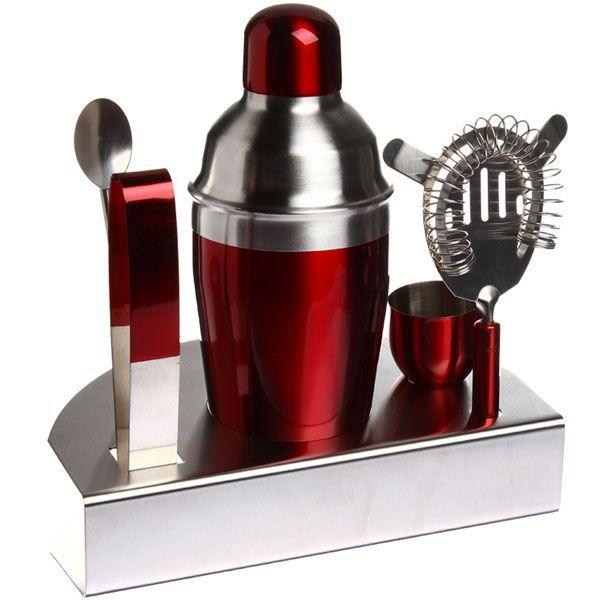 Set cocktail shaker inox rouge pour cocktails 5 achat for Sur la table cocktail shaker