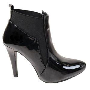 bottes femme cuir noir bout pointu. Black Bedroom Furniture Sets. Home Design Ideas