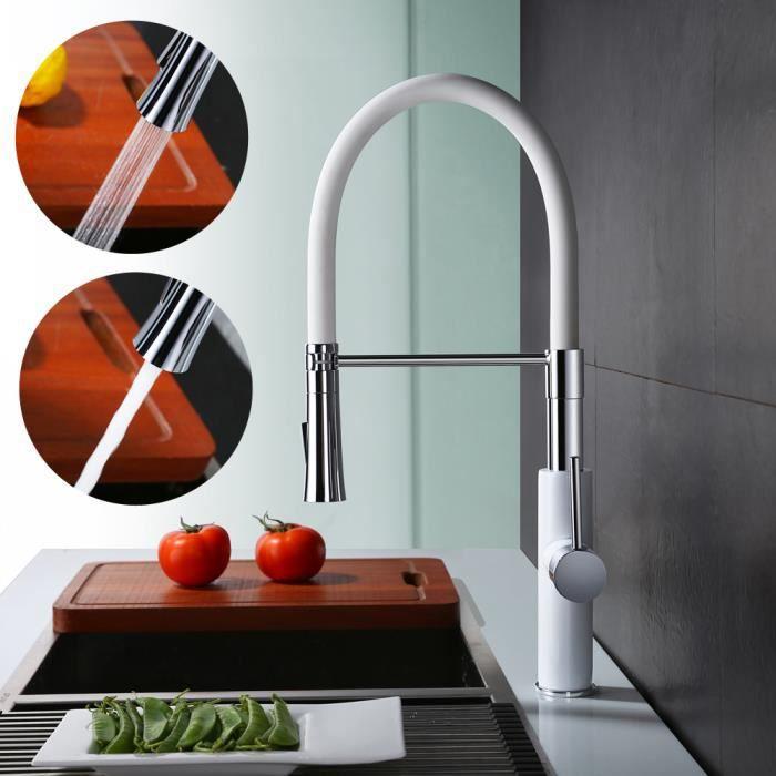 robinet de cuisine avec douchette extratible d bit variable mitigeur d 39 evier avec haut bras. Black Bedroom Furniture Sets. Home Design Ideas