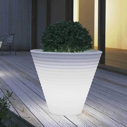 Pot de fleurs lumineux africa o 80 x 69 cm blanc achat vente jardini re pot fleur pot de - Pot lumineux jardin ...
