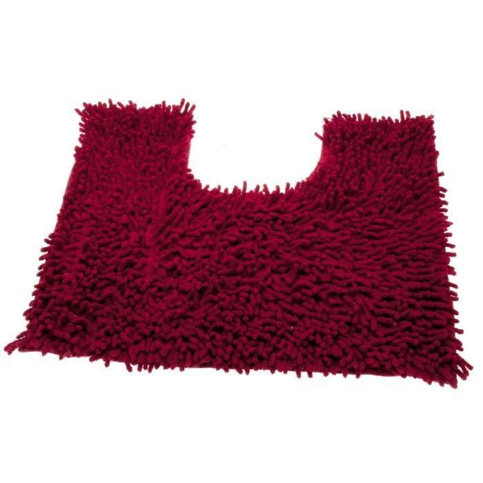 tapis contour wc chenille rouge achat vente tapis de. Black Bedroom Furniture Sets. Home Design Ideas