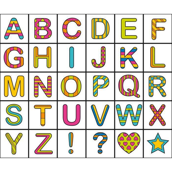 Kit tampon et coloriage alphabet art mio achat vente jeu de coloriage dessin pochoir - Grande lettre alphabet a imprimer ...