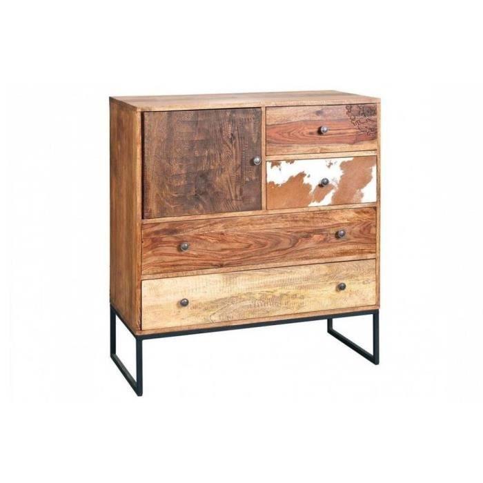 Commode segall 5 tiroirs en bois de manguier re achat for Meuble en bois de manguier