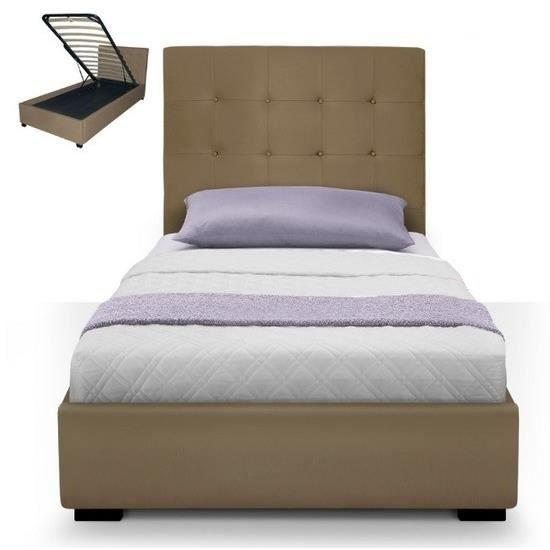 lit coffre dream sommier 90cm taupe achat vente structure de lit lit coffre dream. Black Bedroom Furniture Sets. Home Design Ideas
