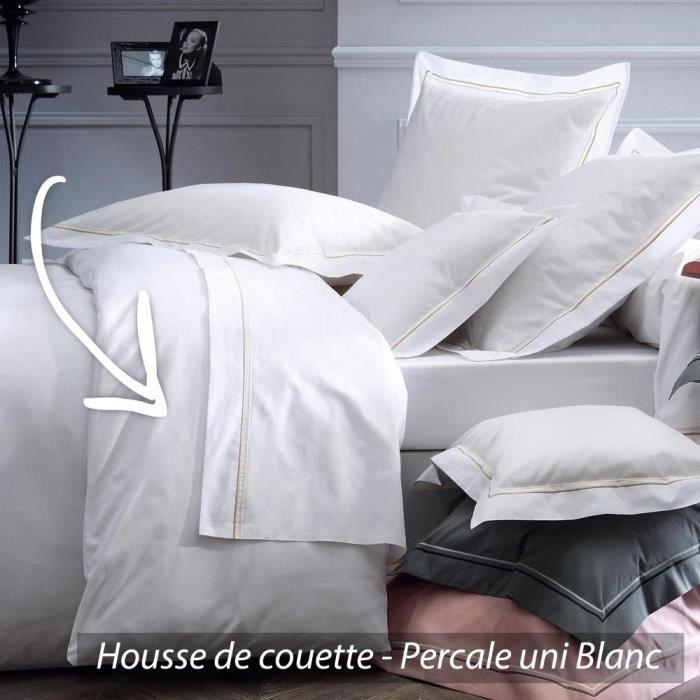 housse de couette 260x240 cm uni percale pur coton hotel de paris blanc achat vente housse. Black Bedroom Furniture Sets. Home Design Ideas
