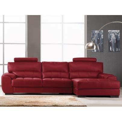 Canap d 39 angle en cuir metropolitan ii rouge achat vente canap - Canape d angle cuir rouge ...