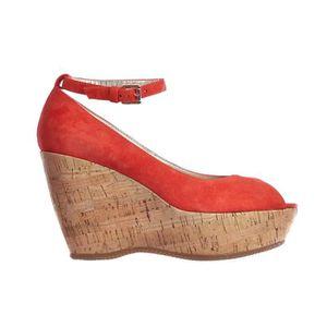 Chaussures Compensées HOGAN Femme Neuve Escarpin Sandale Daim Rouge