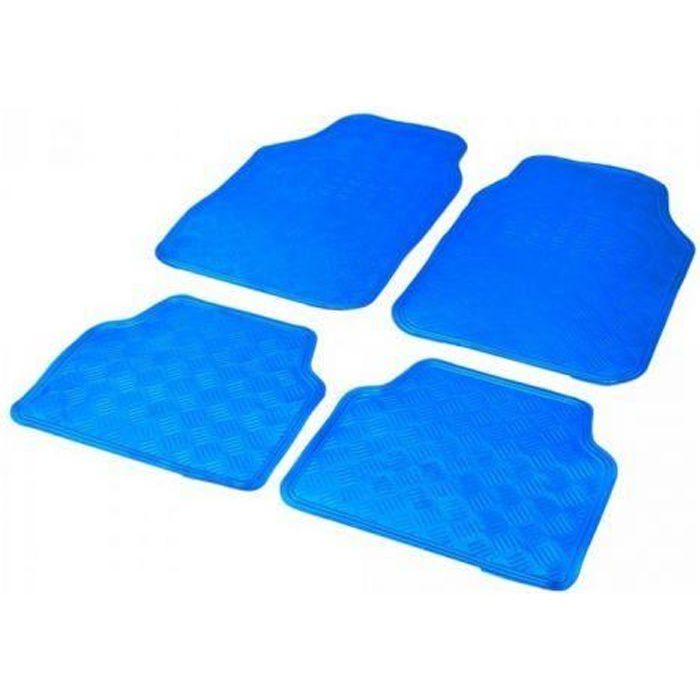 tapis auto caoutchouc 2 avts 2 arrieres tuning metal bleu universel achat vente tapis de