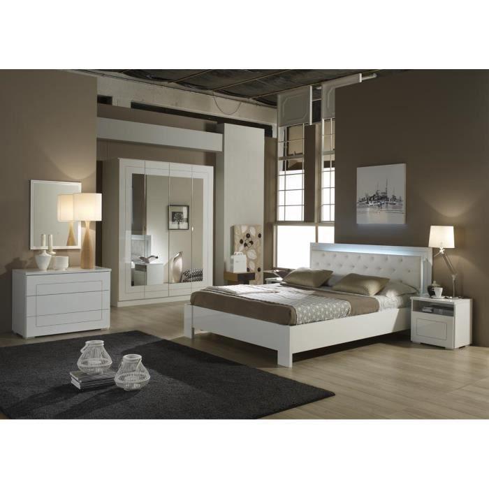 La chambre coucher roma est compos e d 39 un lit en 160 x 200 avec clai - Chambre a coucher cdiscount ...
