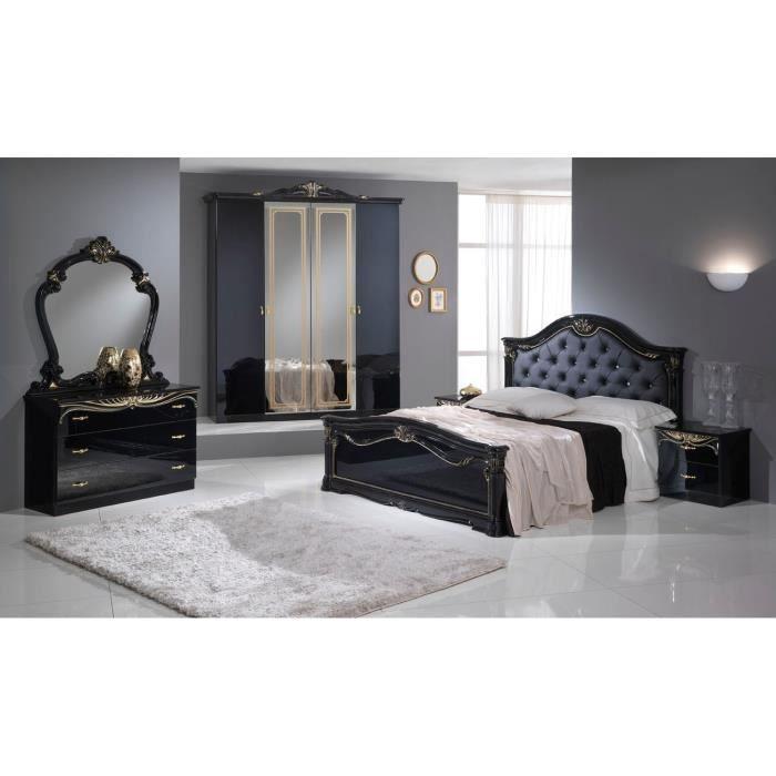 Chambre a coucher complete eva noir et dor achat vente chambre compl te - Chambre a coucher cdiscount ...