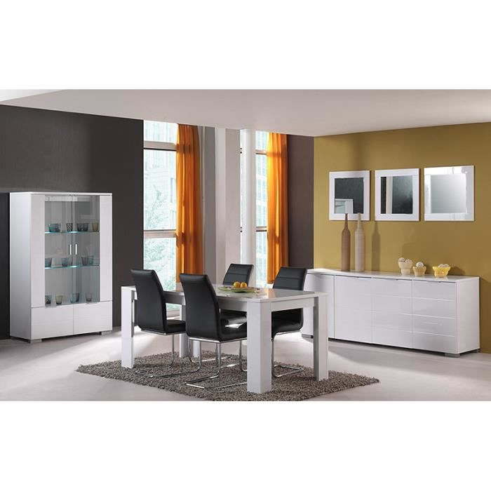 Salle a manger complete laquee blanc achat vente salle manger salle a manger complete laq - Salle a manger complete industrielle ...